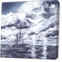 Sailboat Oil Painting Print As Canvas