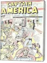 Captain America Versus Hitler Famous Retro Cover Comic Art - Gallery Wrap
