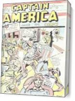 Captain America Versus Hitler Famous Retro Cover Comic Art - Gallery Wrap Plus