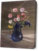 Bluevaseflowers As Canvas