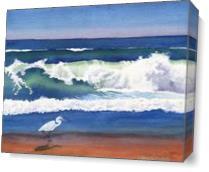 Beach Egret As Canvas
