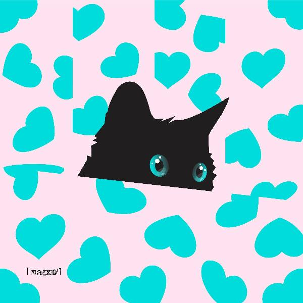 Kitty On Blanket With Hearts