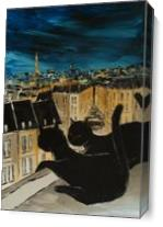 Black Cat With His Pretty On Paris Roofs As Canvas
