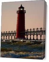 Oil Light House Beach As Canvas
