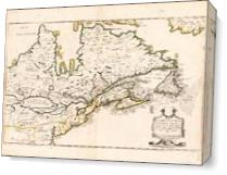 Map Of Canada (Nouvelle France) 1643 As Canvas