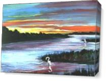 Shoreline At Sunset As Canvas