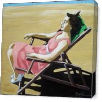 Summertime Snooze - Woman On Beach Oil Painting As Canvas