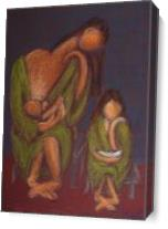 Mother And Daughter Reading As Canvas