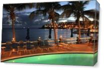 Evening Harbor Lights At Bolongo Beach Pool St Thomas Photograph By Roupen Baker As Canvas