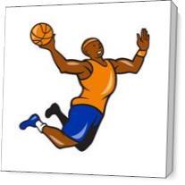 Basketball Player Dunking Ball Cartoon As Canvas