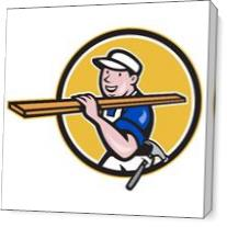 Carpenter Worker Carrying Timber Circle Cartoon As Canvas