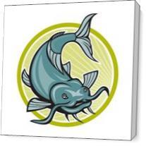 Catfish Attacking Circle Cartoon As Canvas