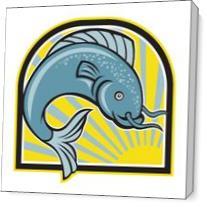 Catfish Jumping Sunburst Cartoon As Canvas