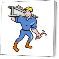 Construction Worker Ibeam Hammer As Canvas