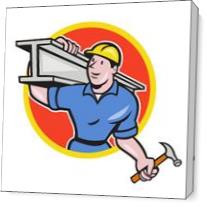 Construction Steel Worker Carry I-Beam Circle Cartoon As Canvas