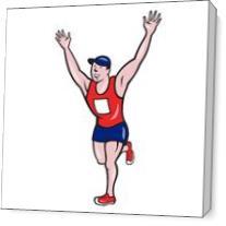 Marathon Runner Winning Cartoon As Canvas
