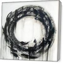 Large Black And White Contemporary Abstract Circle Painting As Canvas