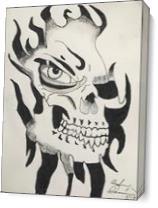 Skull Through The Flames As Canvas