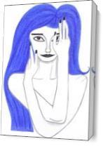 Girl With  Blue Hair As Canvas