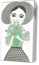 Girl Holding Flowers As Canvas