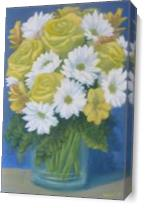 Still Life Yellow Roses White Daisies As Canvas