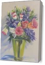 Still Life Florals In Brass Vase As Canvas