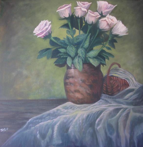White Roses In Terra Vase