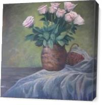 White Roses In Terra Vase As Canvas