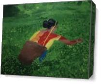Lady Working In Tea Garden. As Canvas
