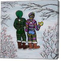 Walking In Our Winter Underwear - Gallery Wrap
