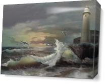 Michigan Lighthouse Of The Great Lakes As Canvas
