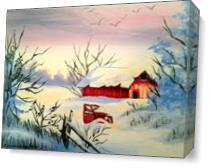 Christmas Barn And Truck As Canvas