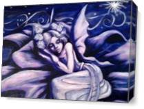 Blue Fairy Sleeping In A Flower As Canvas