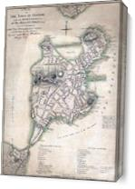 1775 Town Plan Of Boston Map As Canvas