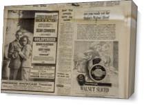 Vintage James Bond Newspaper Advertisement As Canvas