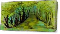 Creek In The Woods As Canvas