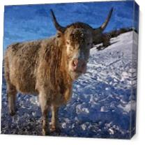 Graceful Goat On Snowy Snow - Winter Season Animal Stepping On Ice Cold White Snow Oil Painting As Canvas