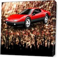 Luxury Car On Fur - Brownish Fur Oil Painting Background Texture With Crowd Cheering As Canvas