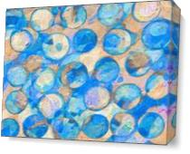 Blue Eroded Circle Abstract As Canvas