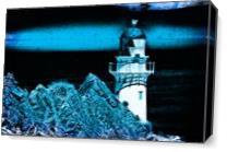 Midnight Blue Lighthouse As Canvas