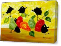 Crow And Pear As Canvas