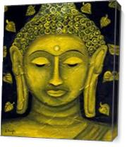 Buddha With Lotus Leaves As Canvas