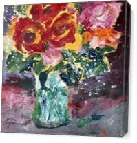 Roses Splash As Canvas