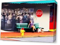 Savanna Bus Stop Art As Canvas